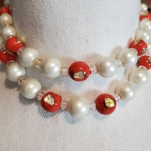 Vtg Japan Signed Necklace Faux Pearl Glass Beads